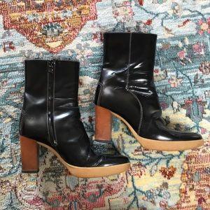Tod's | Black Patent Block Heel Booties Size 7.5